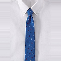 Lands' End - Blue regular anchor print cotton tie