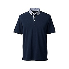 Lands' End - Blue regular woven collar pique polo