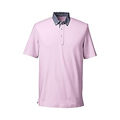 Lands' End - Pink regular woven collar pique polo