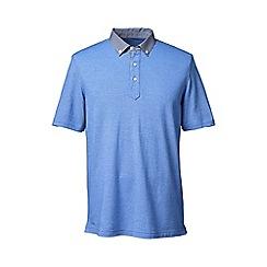 Lands' End - Blue regular woven collar pique polo