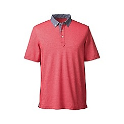 Lands' End - Orange regular woven collar pique polo