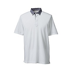 Lands' End - White regular woven collar pique polo
