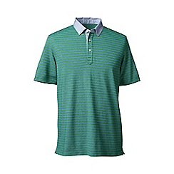 Lands' End - Green regular woven collar striped pique polo