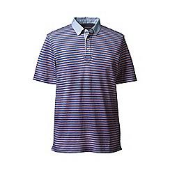 Lands' End - Blue regular woven collar striped pique polo