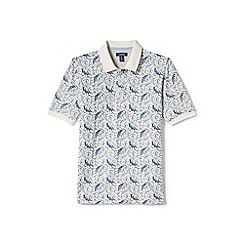 Lands' End - White printed traditional fit pique polo