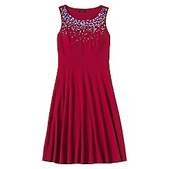 Lands' End - Red women's sleeveless embroidered drapey ponte dress