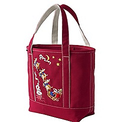 Lands' End - Pink embroidered medium open top canvas tote bag
