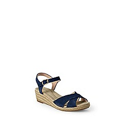 Lands' End - Blue  regular reese low wedge sandals