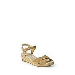 Lands' End - Beige  regular reese low wedge sandals