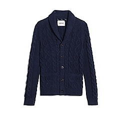 Lands' End - Blue shawl collar cable cotton cardigan
