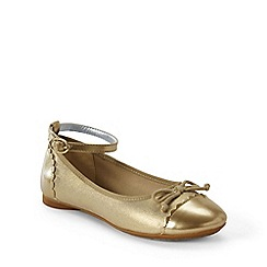 Lands' End - Gold girls' ankle strap ballet pumps