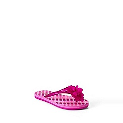Lands' End - Pink girls' flower flip flops