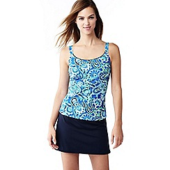 Lands' End - Blue d-cup paisley scoop neck tankini top