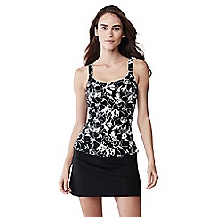 Lands' End - Black floral scoop neck tankini top