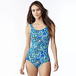 Lands' End - Blue tall tugless soft cup paisley swimsuit