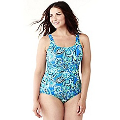 Lands' End - Blue plus size tugless soft cup paisley swimsuit