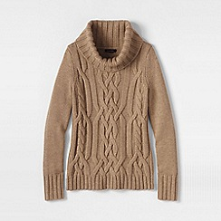 Lands' End - Beige petite merino blend cowl neck
