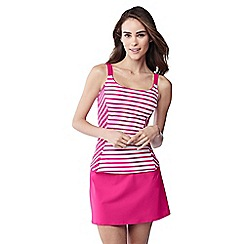 Lands' End - Pink bias cut striped scoop neck tankini top