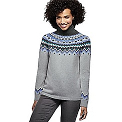 Lands' End - Blue women's merino blend fair isle roll neck