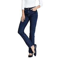 Lands' End - Blue petite slim leg patterned jeans