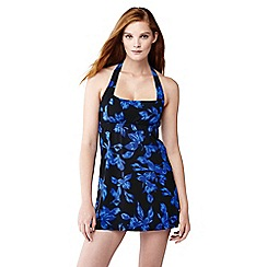 Lands' End - Blue beach living blossom print swim dresskini top