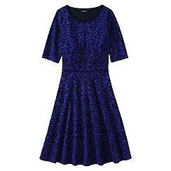 Lands' End - Blue women's ponte jersey damask boatneck dress