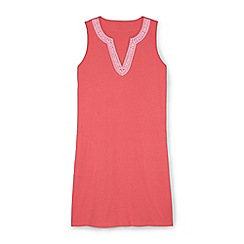 Lands' End - Pink embroidered sleeveless tunic cover-up