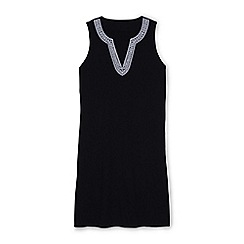 Lands' End - Black embroidered sleeveless tunic cover-up