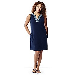 Lands' End - Blue plus embroidered sleeveless tunic cover-up