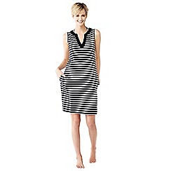 Lands' End - Black striped sleeveless tunic cover-up