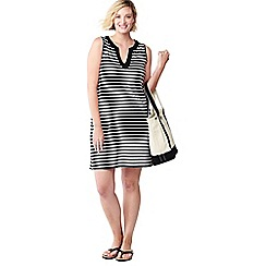 Lands' End - Black plus striped sleeveless tunic cover-up