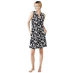 Lands' End - Black floral sleeveless tunic cover-up