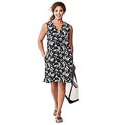Lands' End - Black plus floral sleeveless tunic cover-up