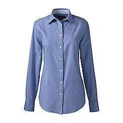Lands' End - Blue regular plain washed oxford cotton shirt