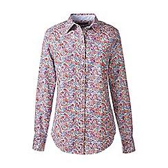 Lands' End - Blue regular patterned washed oxford cotton shirt