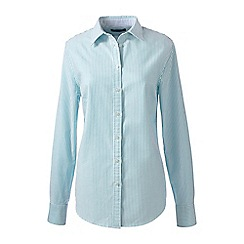 Lands' End - Blue regular patterned washed oxford cotton shirt