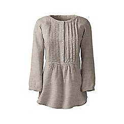 Lands' End - Beige regular linen three-quarter sleeve pintuck blouse