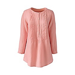 Lands' End - Pink regular linen three-quarter sleeve pintuck blouse