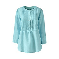 Lands' End - Blue regular linen three-quarter sleeve pintuck blouse