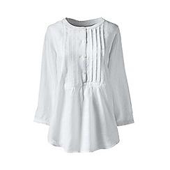 Lands' End - White regular linen three-quarter sleeve pintuck blouse
