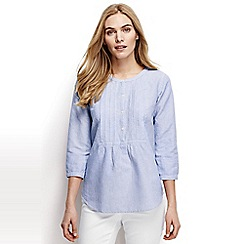 Lands' End - Blue regular linen three-quarter sleeved patterned pleated blouse