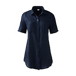 Lands' End - Blue regular short sleeve plain linen shirt