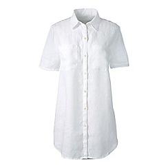 Lands' End - White regular short sleeve plain linen shirt