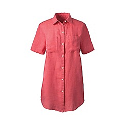 Lands' End - Orange regular short sleeve plain linen shirt