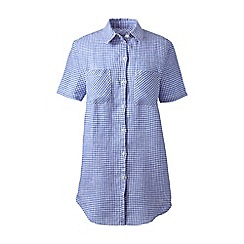 Lands' End - Blue regular short sleeve patterned linen shirt