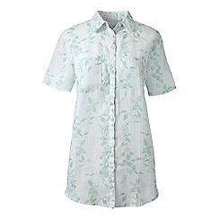 Lands' End - Green regular short sleeve patterned linen shirt