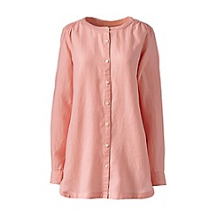 Lands' End - Pink regular long sleeve plain collarless linen tunic