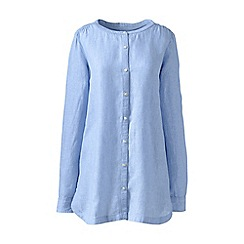 Lands' End - Blue regular long sleeve plain collarless linen tunic