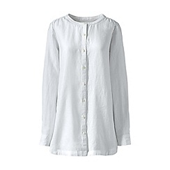 Lands' End - White regular long sleeve plain collarless linen tunic