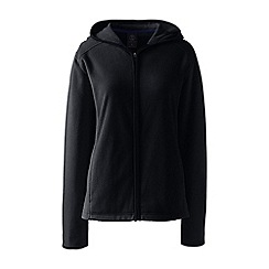 Lands' End - Black petite everyday fleece hooded jacket
